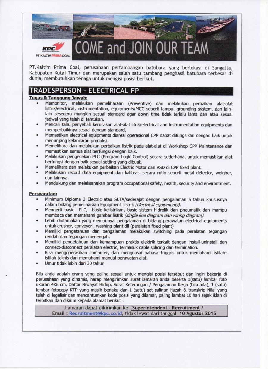 Lowongan Kerja Pt Kpc Untuk Alumni Teknik Elektro Agustus 2015 Polnes Politeknik Negeri Samarinda Official Web