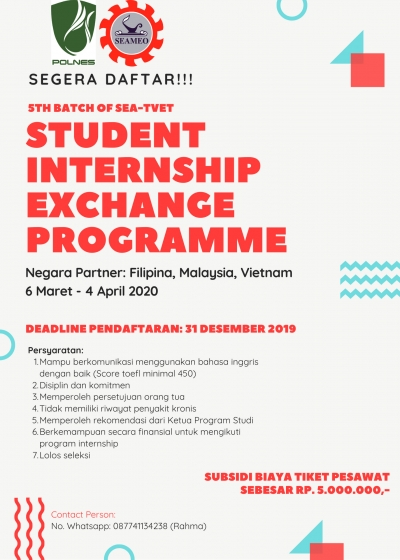 Pengumuman Pendaftaran 5th Batch of SEA-TVET Student Internship Exchange Programme Tahun 2020